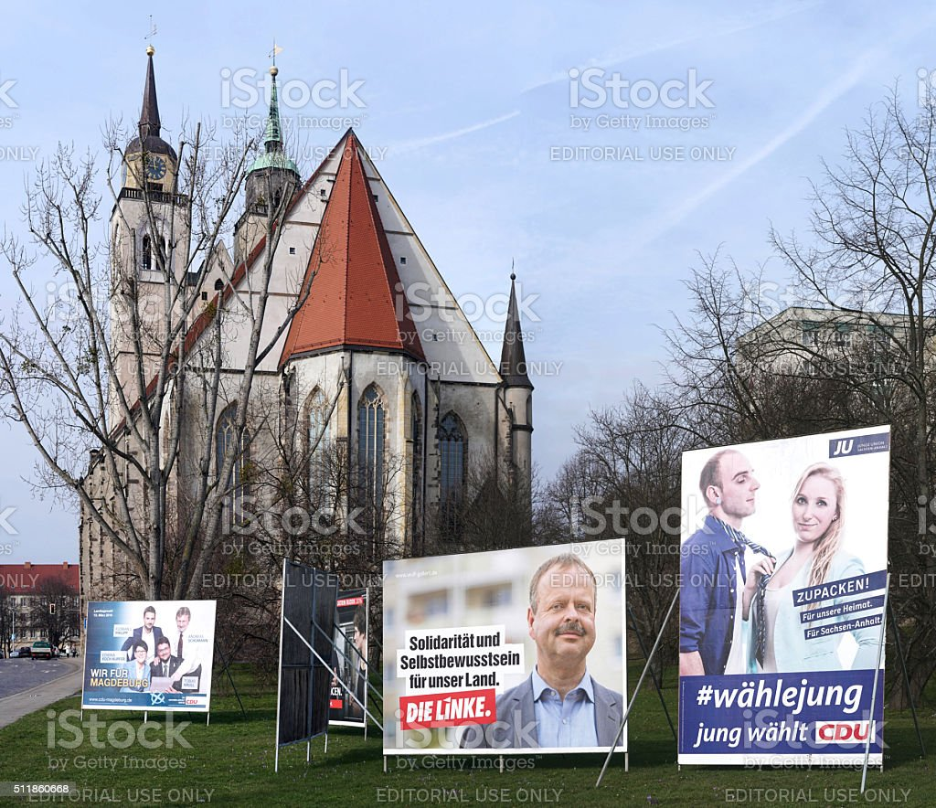 Election Campaign posters in Magdeburg stock photo
