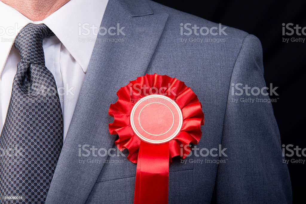 Election Candidate - Red Rosette stock photo