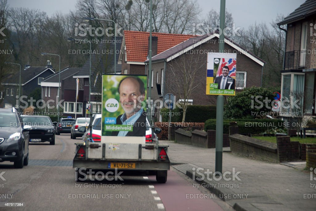 Election caravan on the road stock photo