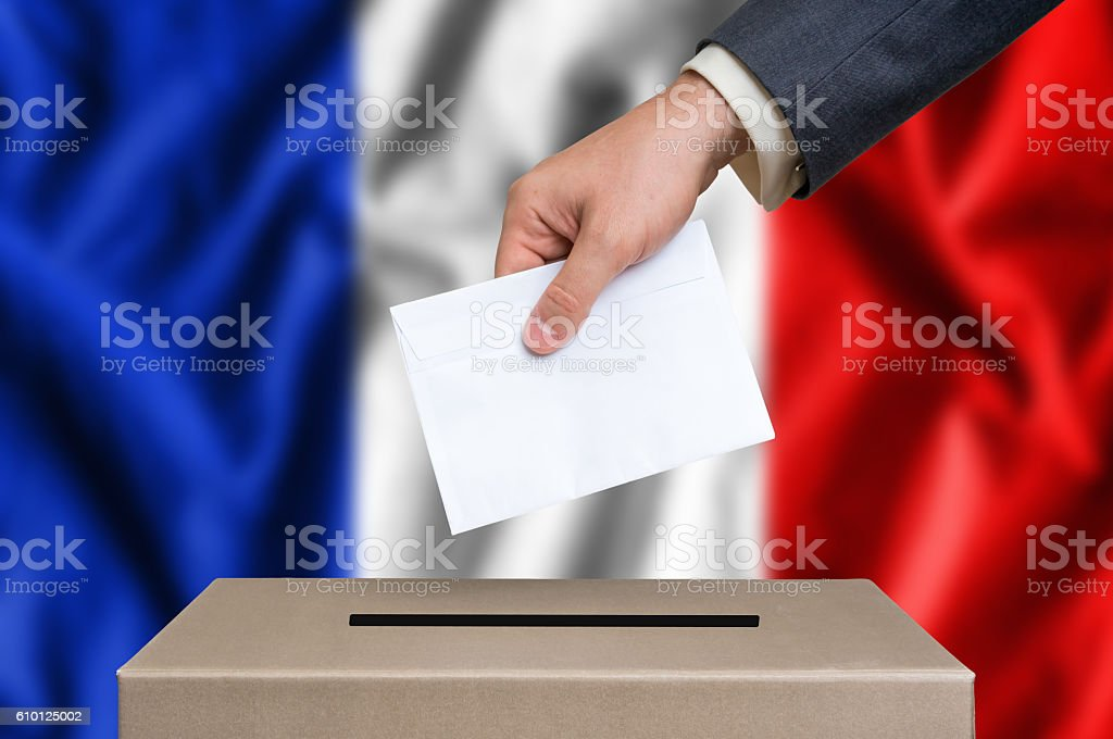 Election in France - voting at the ballot box stock photo