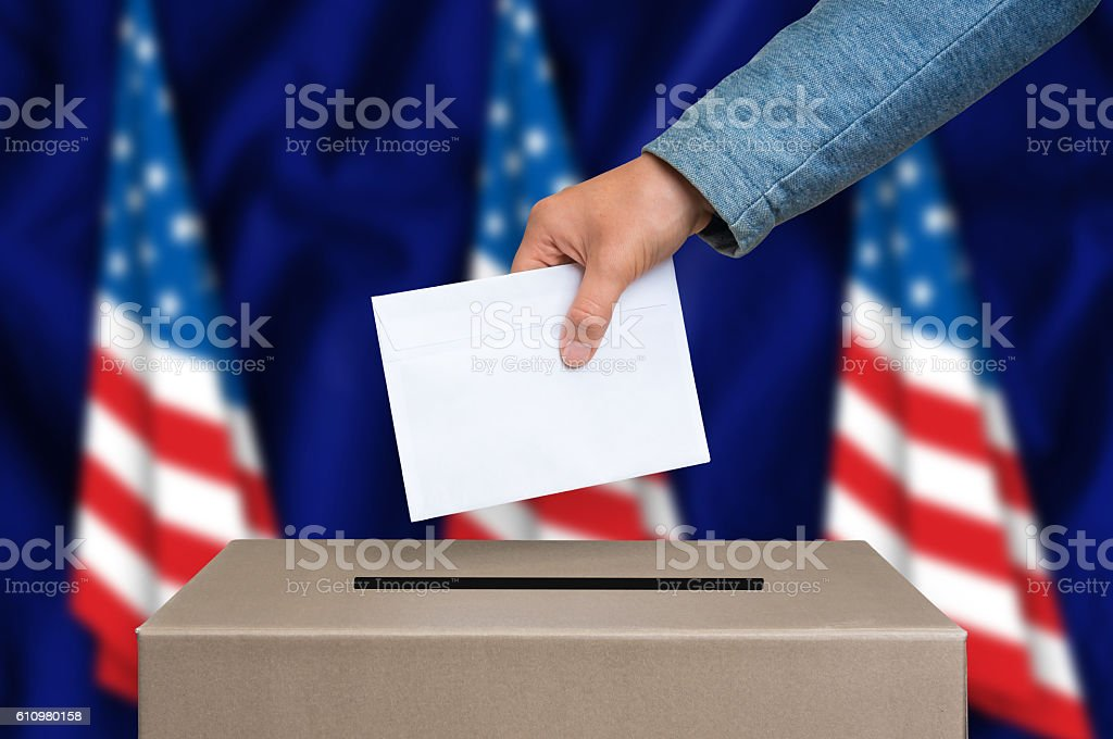 Election in USA - voting at the ballot box stock photo