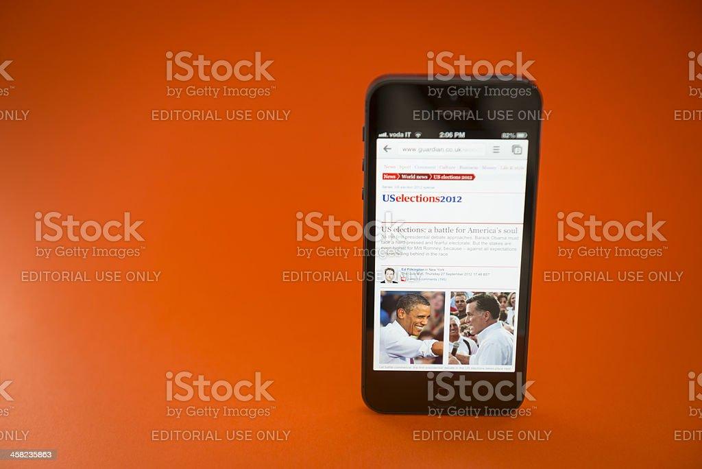 US 2012 election on smartphone Apple Iphone 5 stock photo