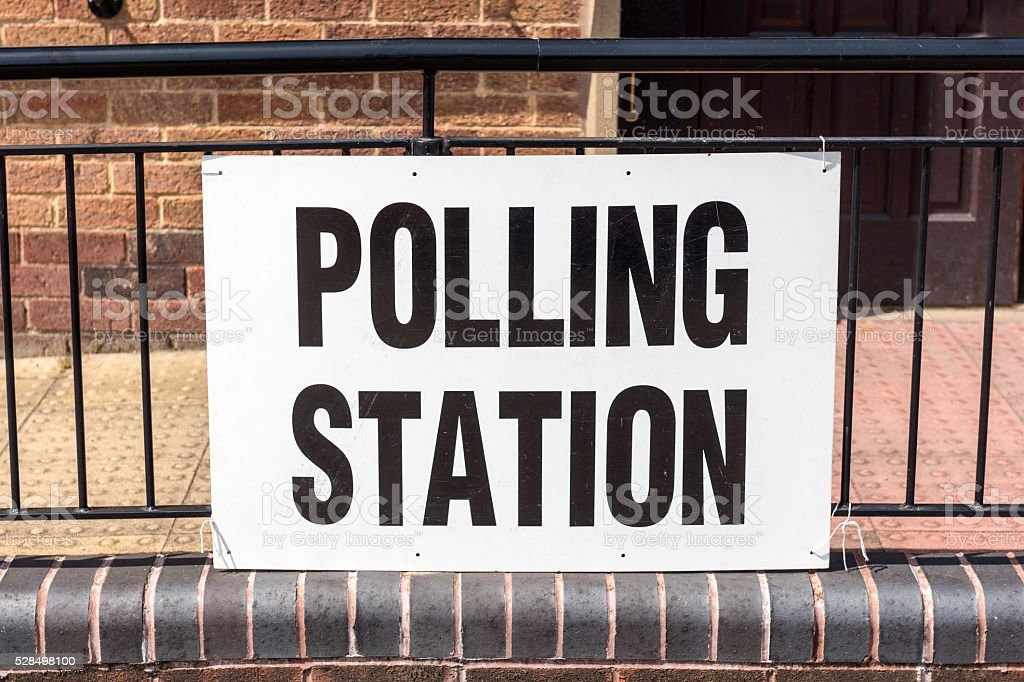 UK election 'Polling Station' sign stock photo