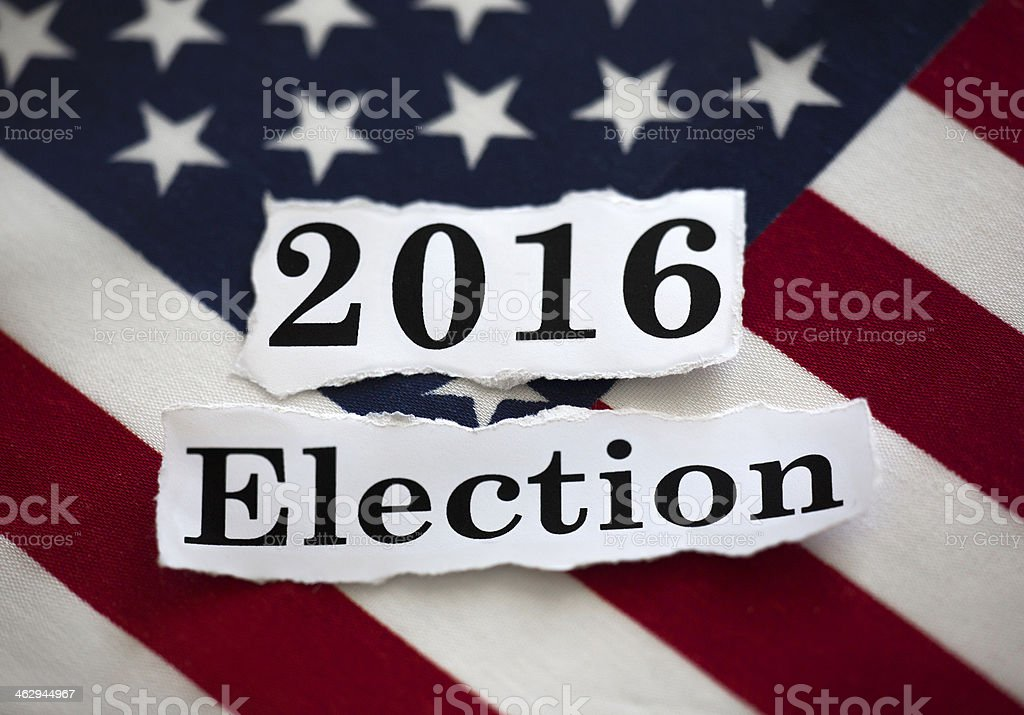 2016 Election sign in the background of American flag stock photo