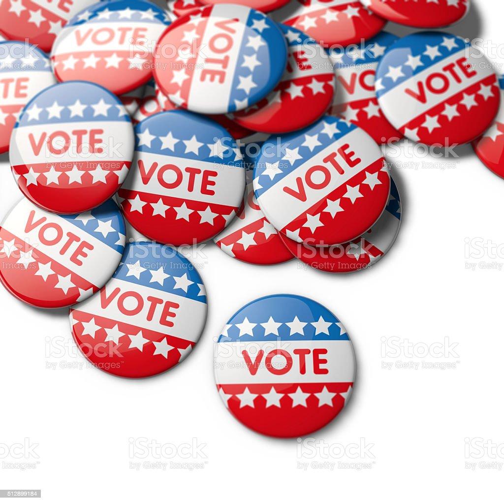 USA election vote badges stock photo