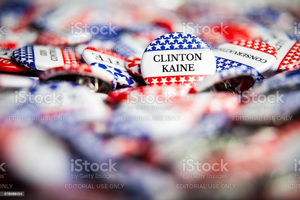 Election Vote Buttons - Clinton Kaine stock photo