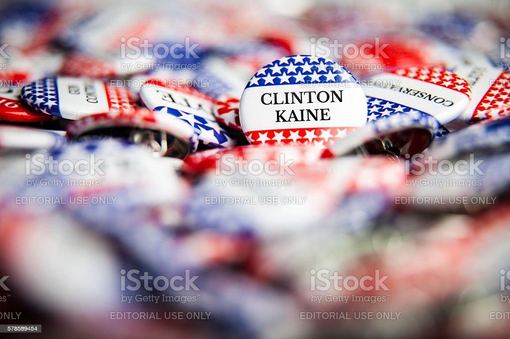 Election Vote Buttons - Clinton Kaine stock photo