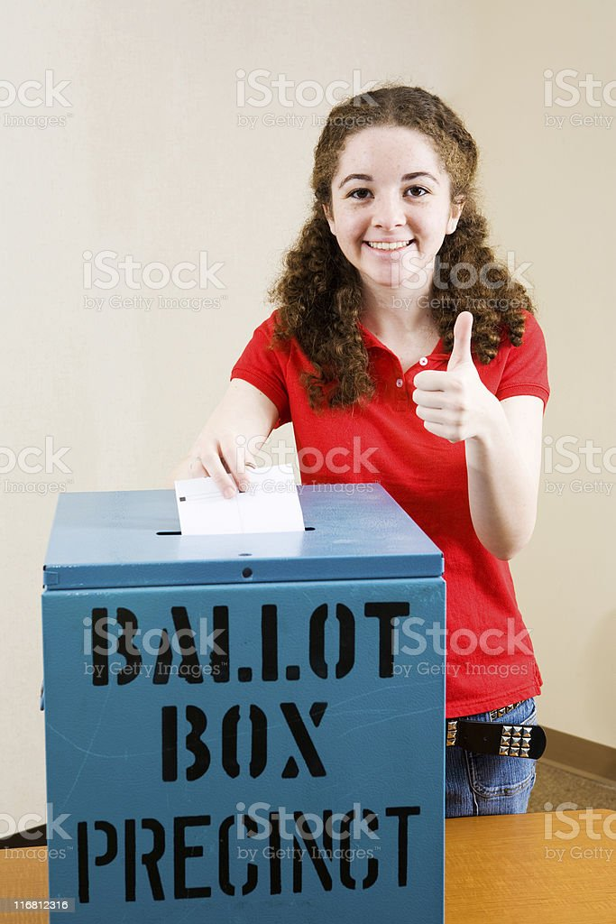 Election - Young Voter Thumbsup stock photo