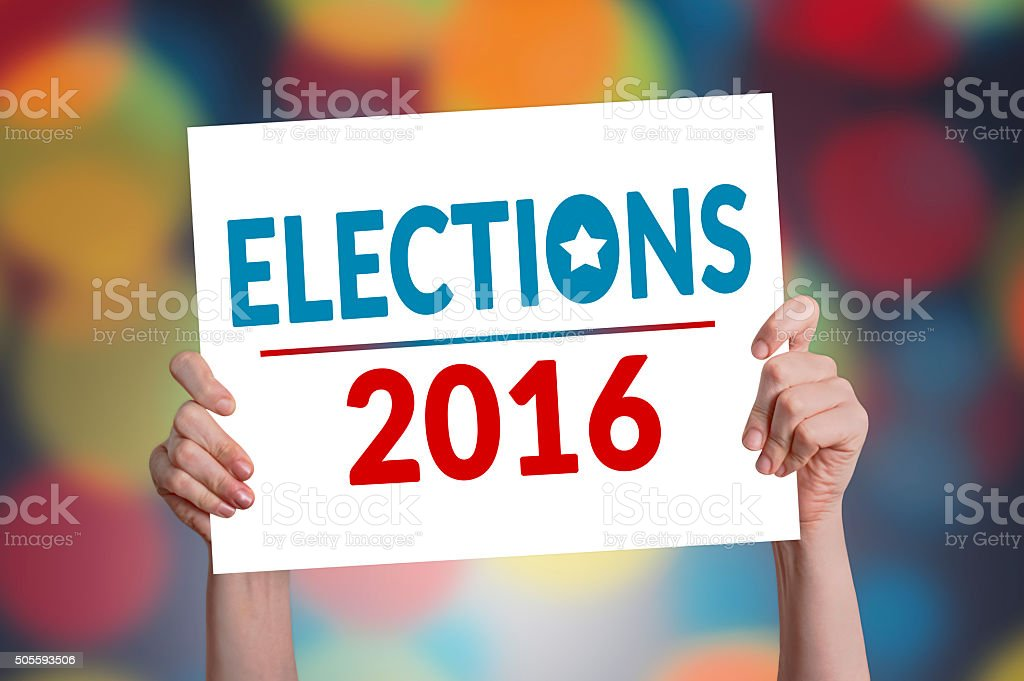 Elections 2016 Card with Bokeh Background stock photo