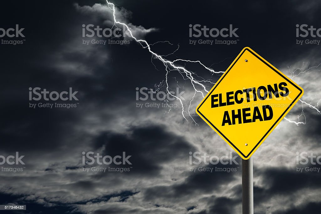Elections Ahead in Political Storm stock photo
