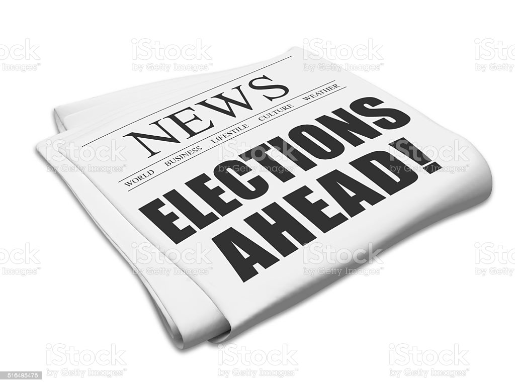 Elections ahead newspaper stock photo