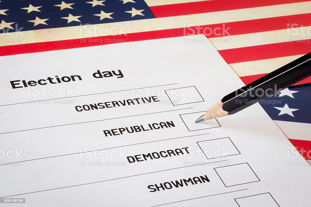 Eleições em branco com fundo de bandeira EUA foto de stock royalty-free