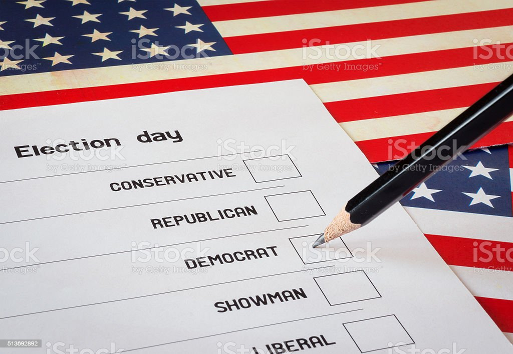 Elections blank with USA flag background stock photo