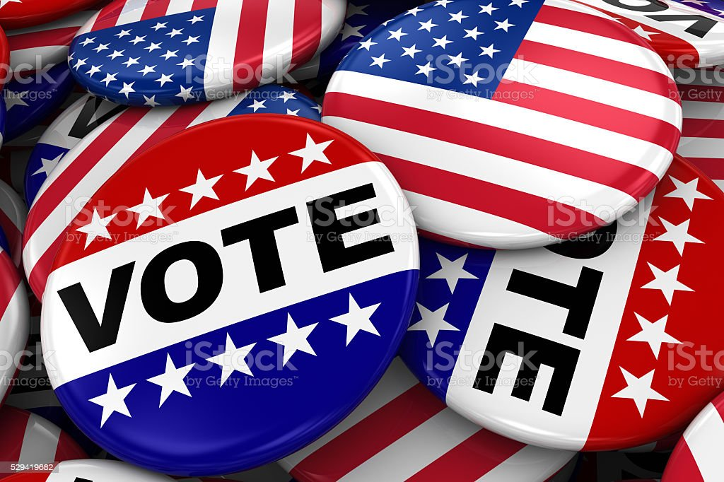 US Elections Concept Image - Vote and American Flag Badges stock photo