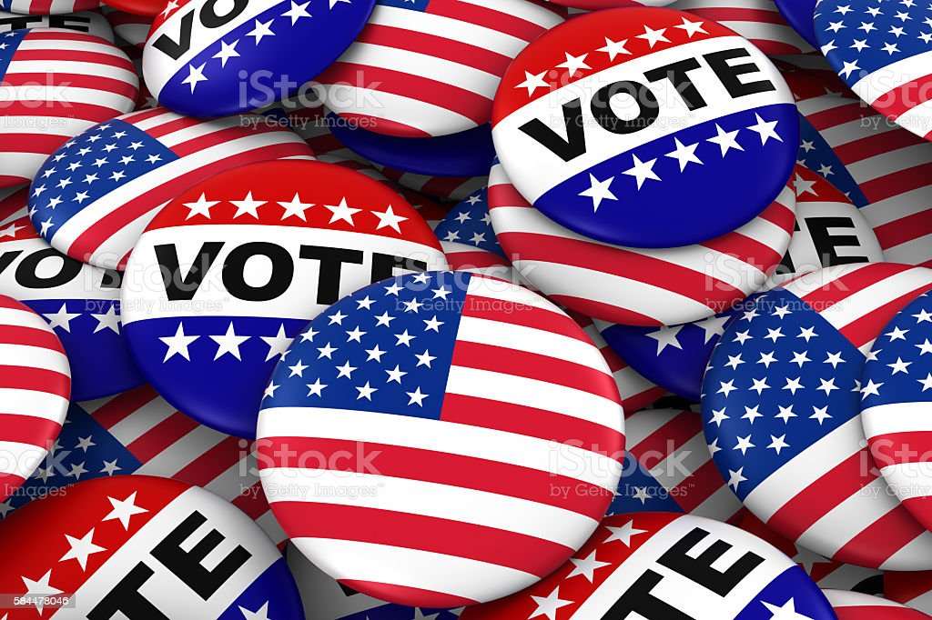 US Elections Concept - United States Flag and Vote Badges stock photo