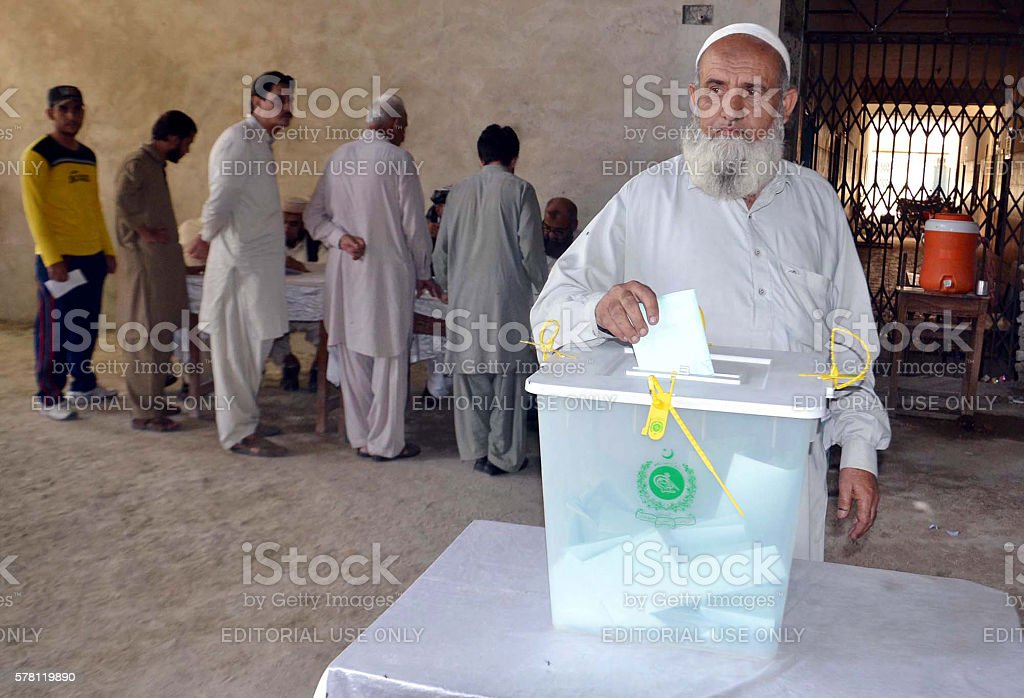 Elections for seats of the Azad Jammu and Kashmir (AJK) stock photo