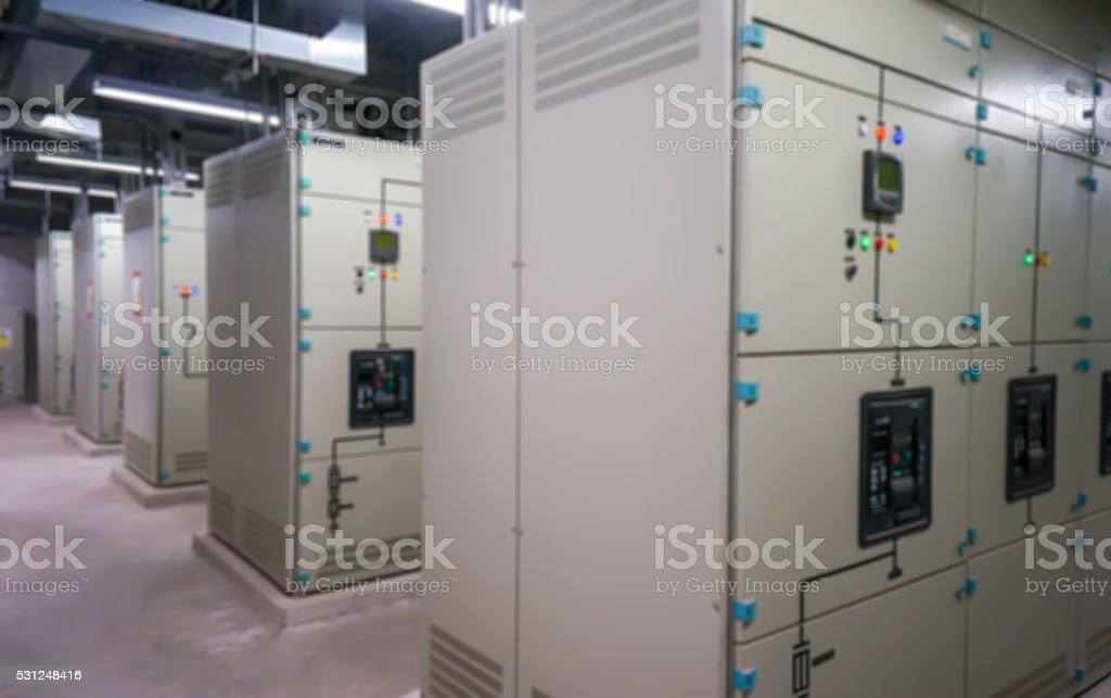 Electric amperage control room stock photo
