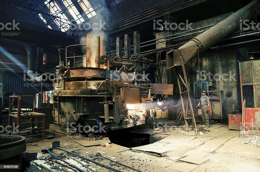 electric arc furnace stock photo