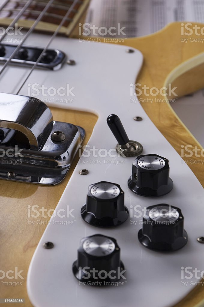 Electric Bass with Sheet Music royalty-free stock photo