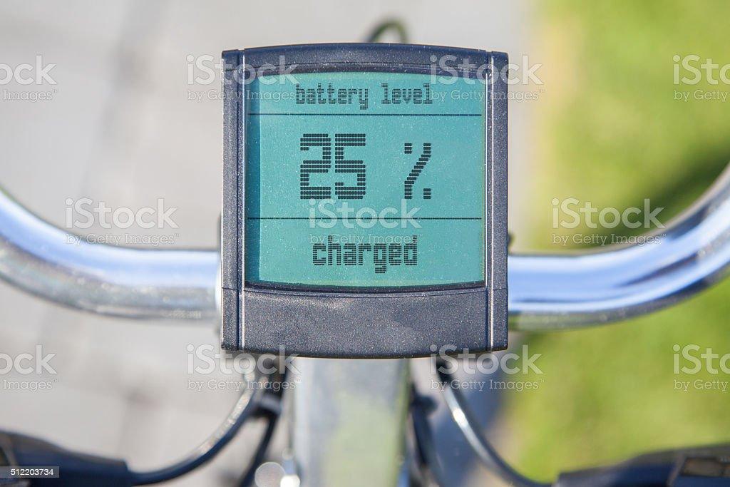 Electric bicycle display in the sun stock photo