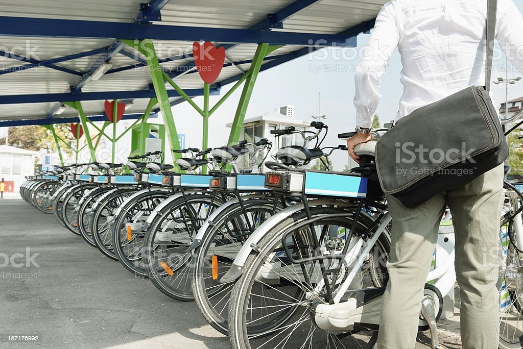 Electric bicycle sharing system stock photo
