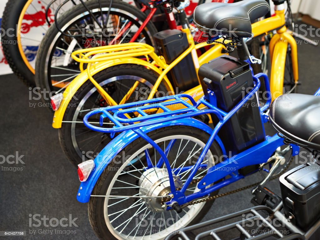 Electric bicycles stock photo