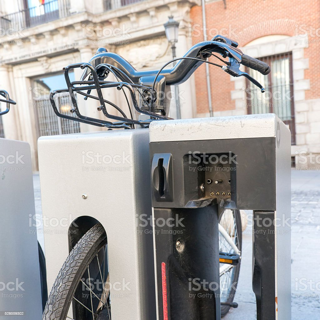 Electric bikes charging station stock photo