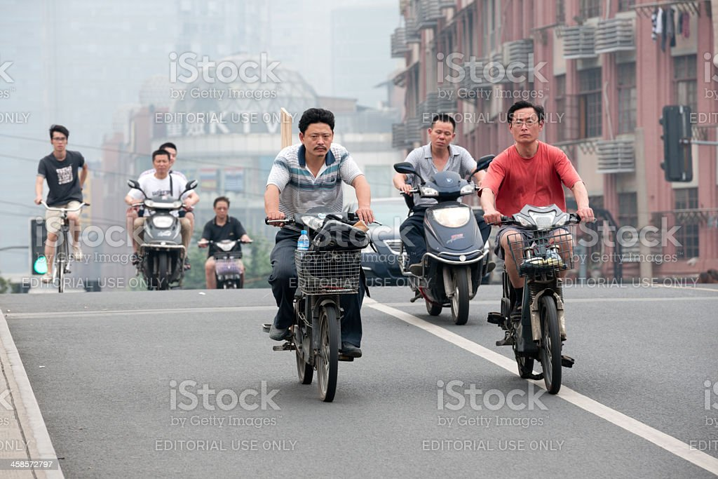 Electric Bikes, Downtown Shanghai, China royalty-free stock photo