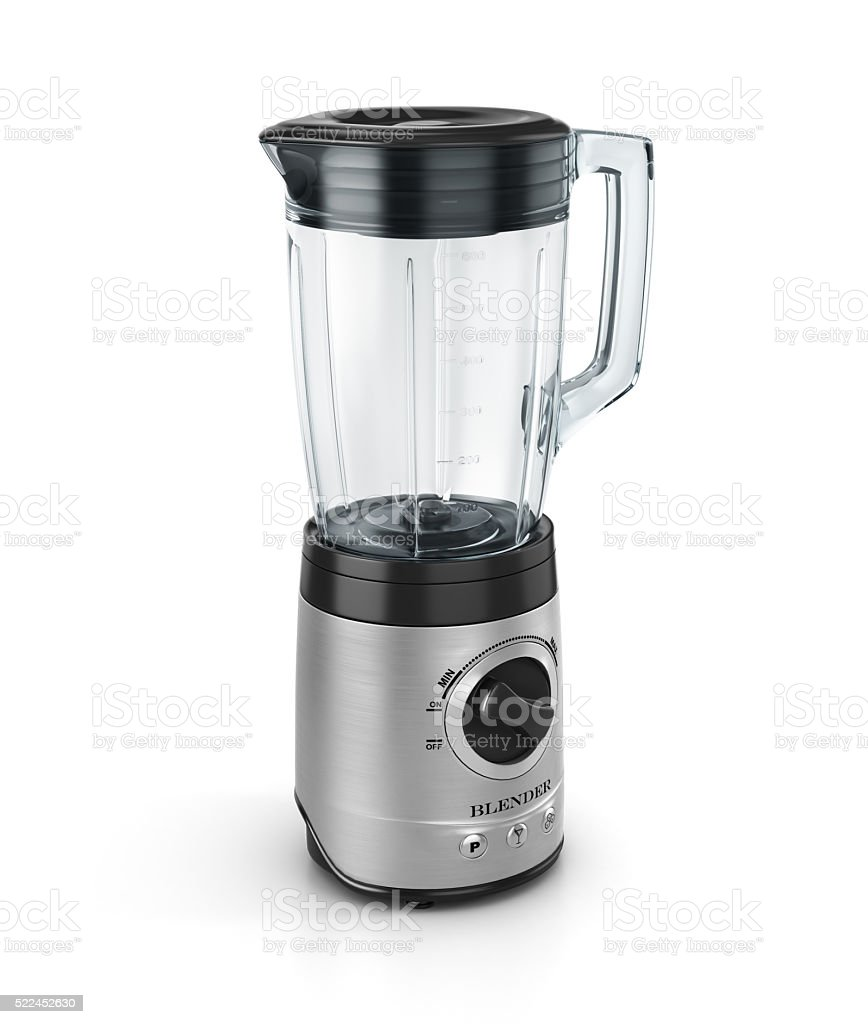 Electric blender. Kitchen appliance, equipment isolated on white. 3d illustration stock photo