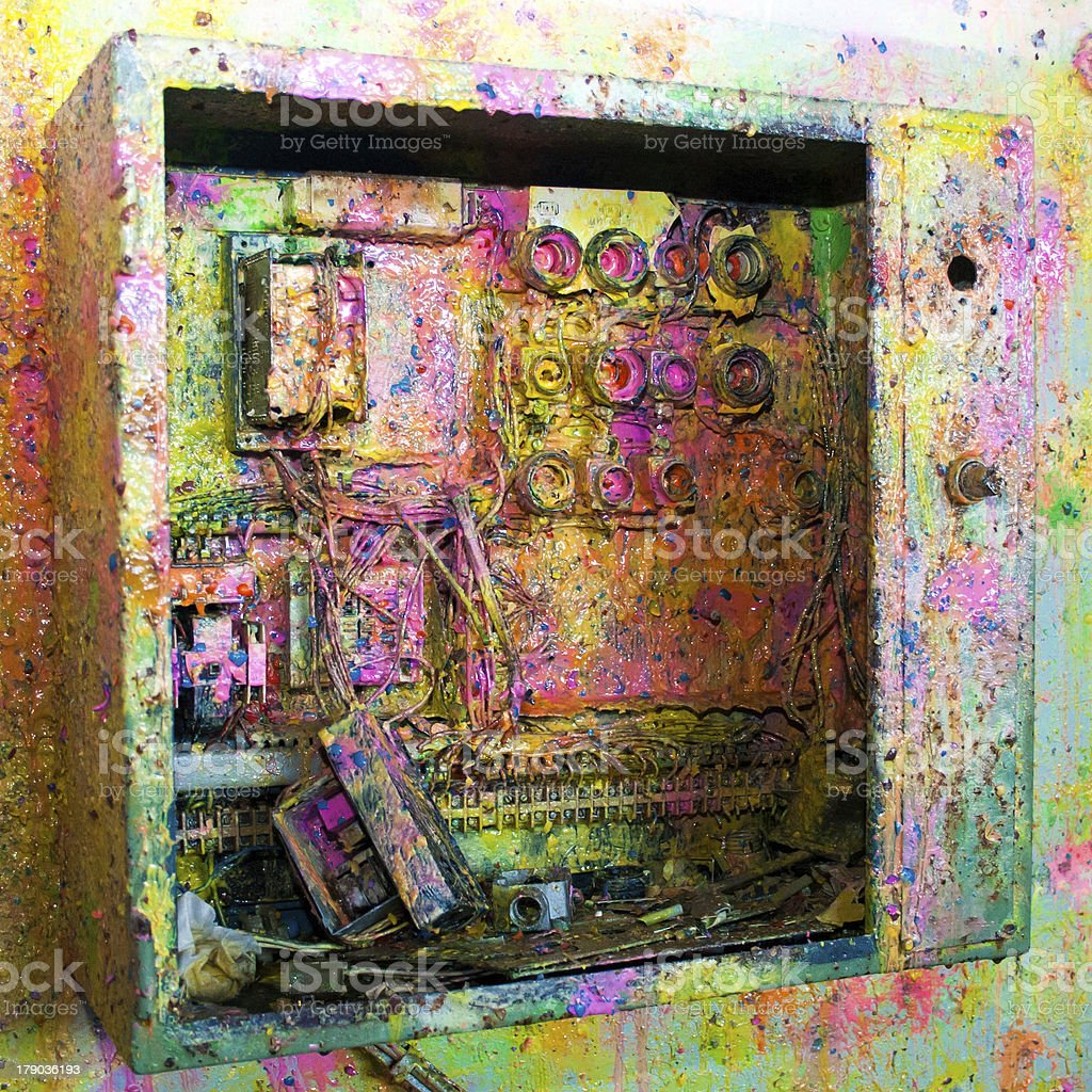 Electric board after paintball royalty-free stock photo