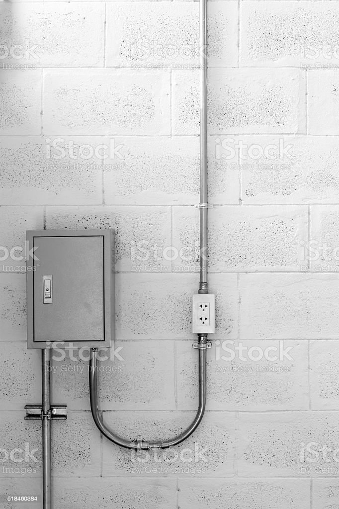 electric box on wall stock photo