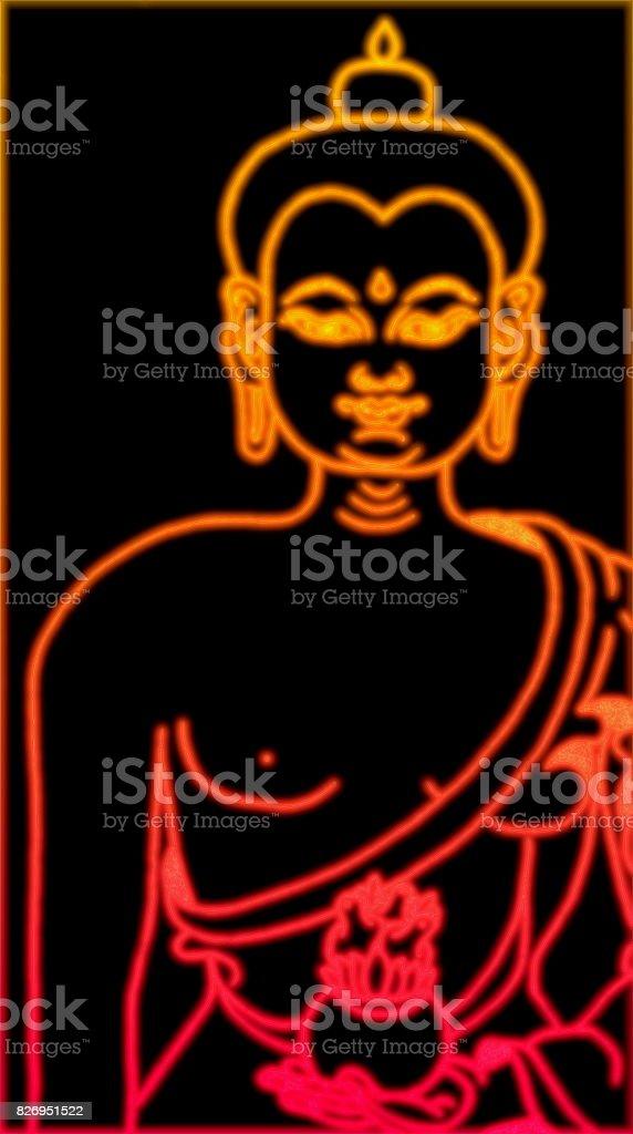 Electric Buddha stock photo