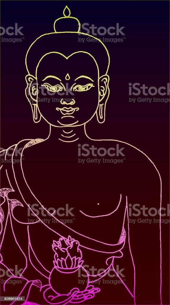 Electric Buddha Sign stock photo