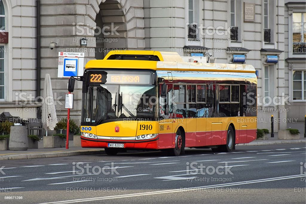 Electric bus on the street stock photo
