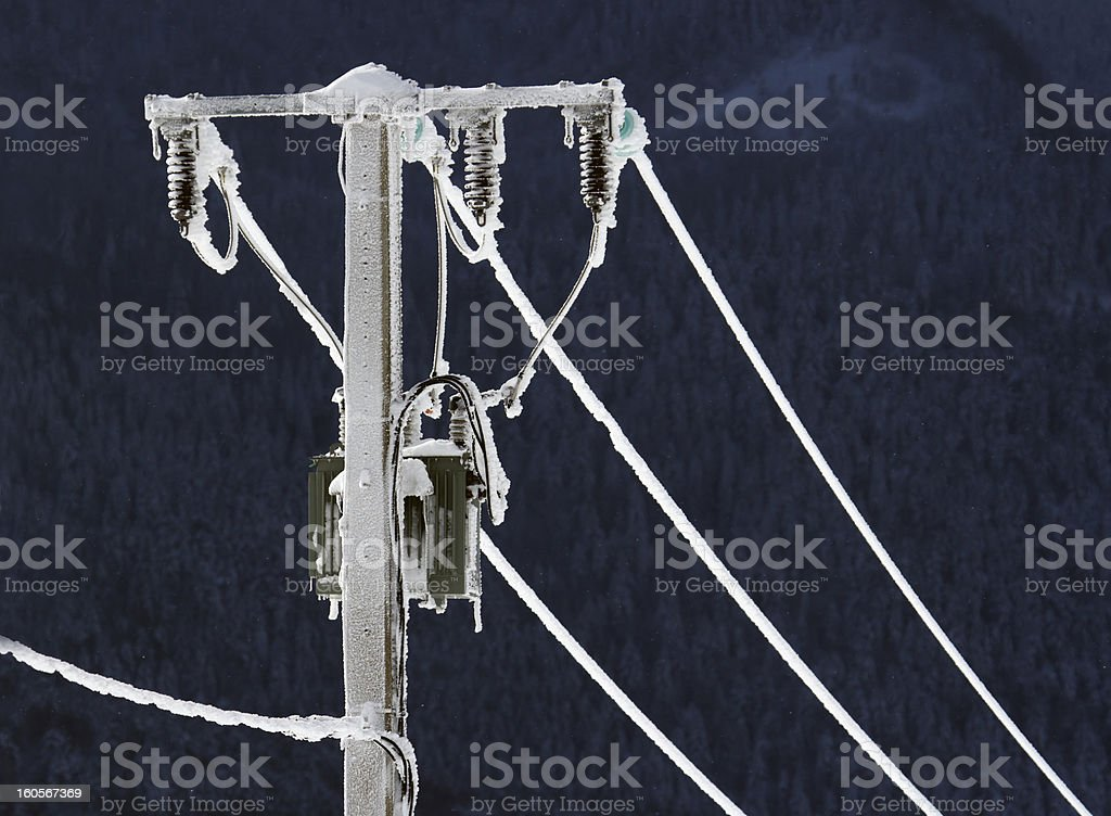 Electric cable frozen in winter stock photo