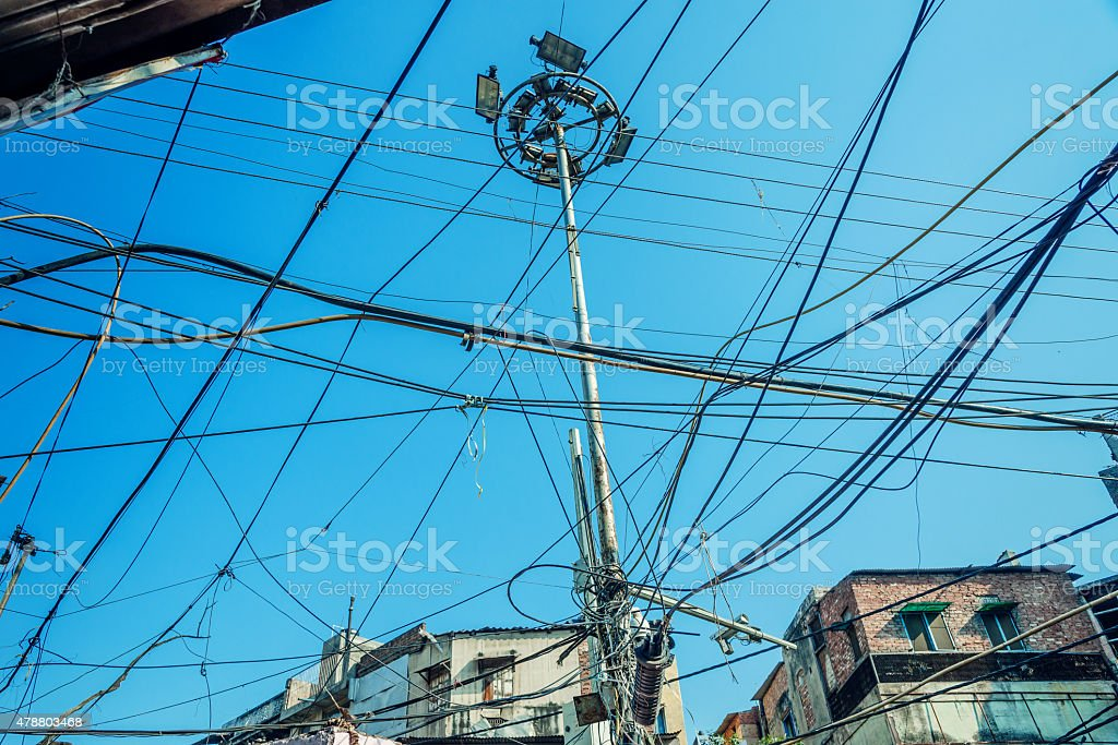 electric cables chaos in India stock photo