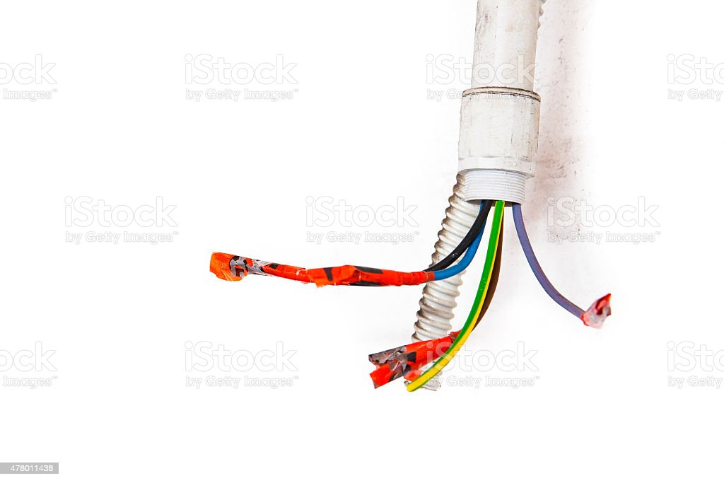Electric cables disconnected stock photo