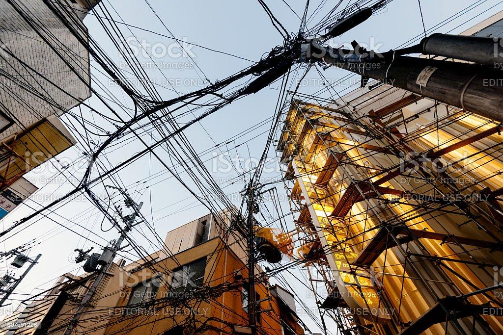Electric Cables in Miyagawacho, Kyoto. stock photo