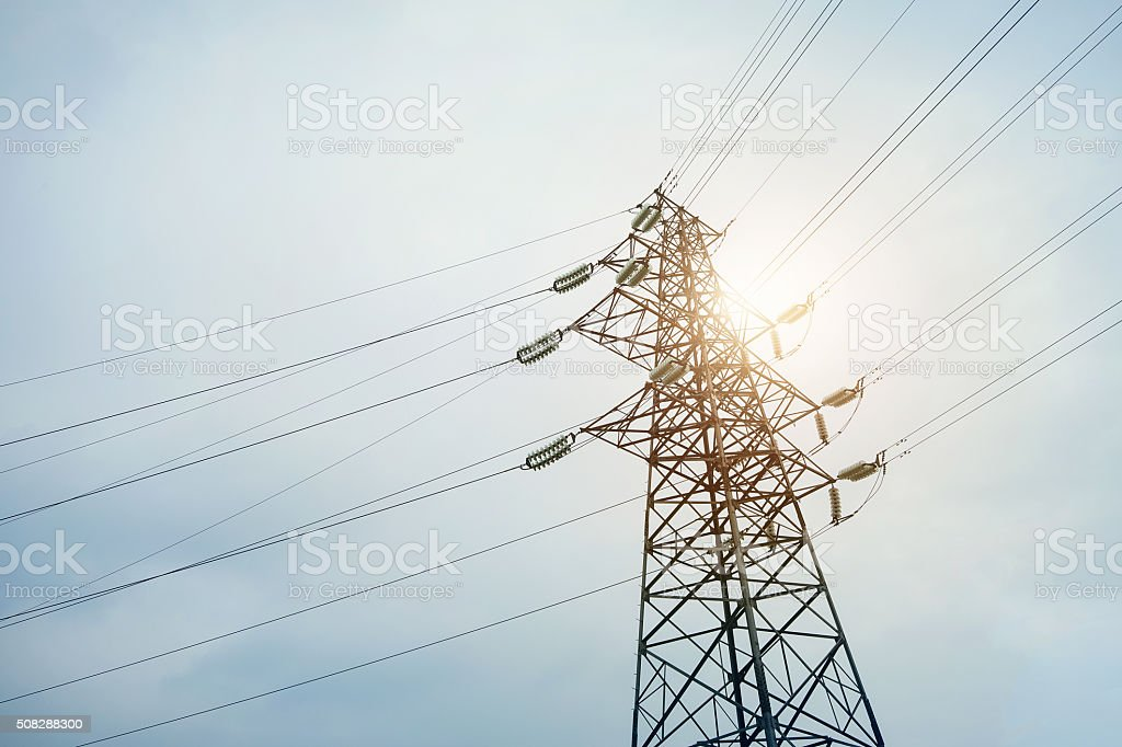Electric cables tower stock photo