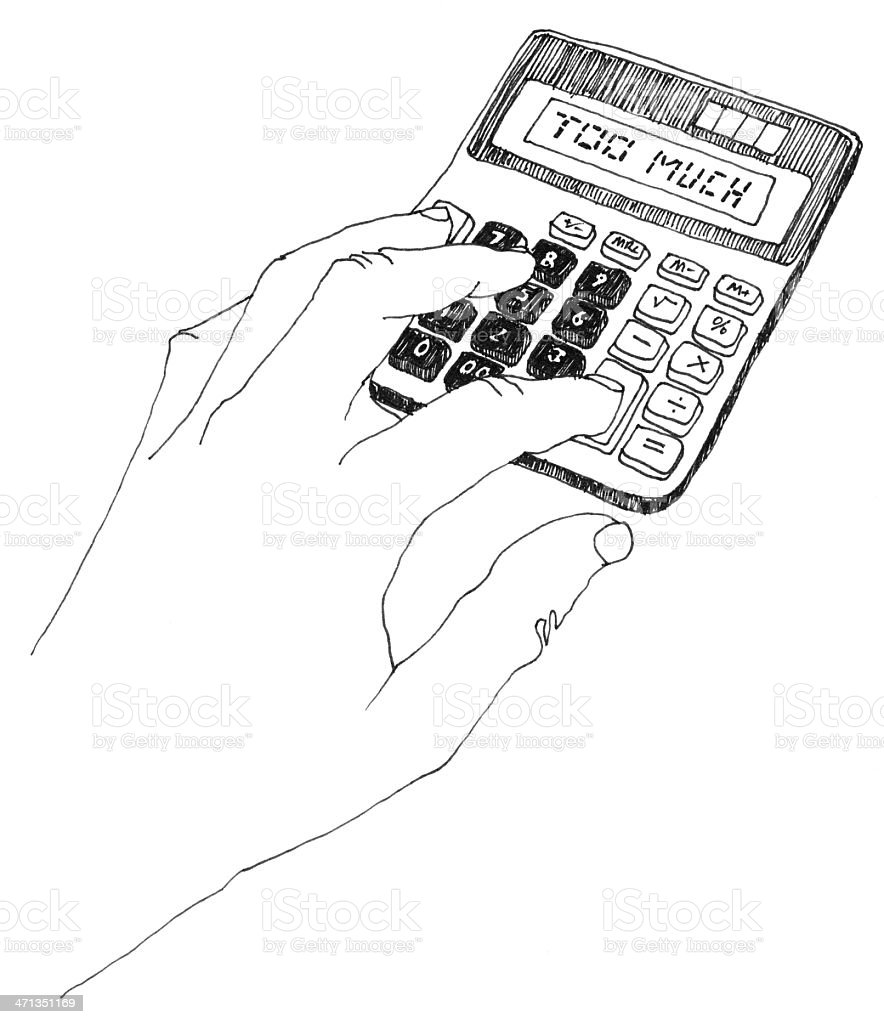 electric calculator hand drawing royalty-free stock photo