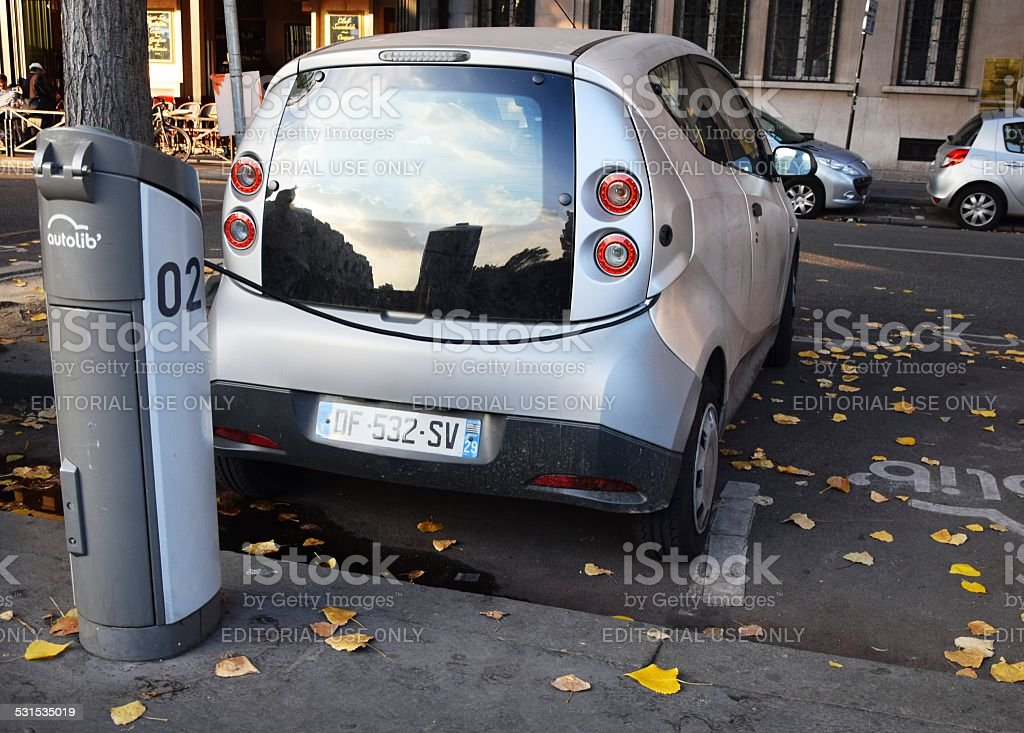 Electric car at the charging station stock photo