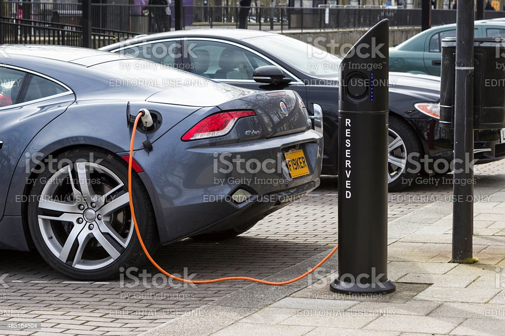 Electric car charge station in Milton Keynes, UK stock photo