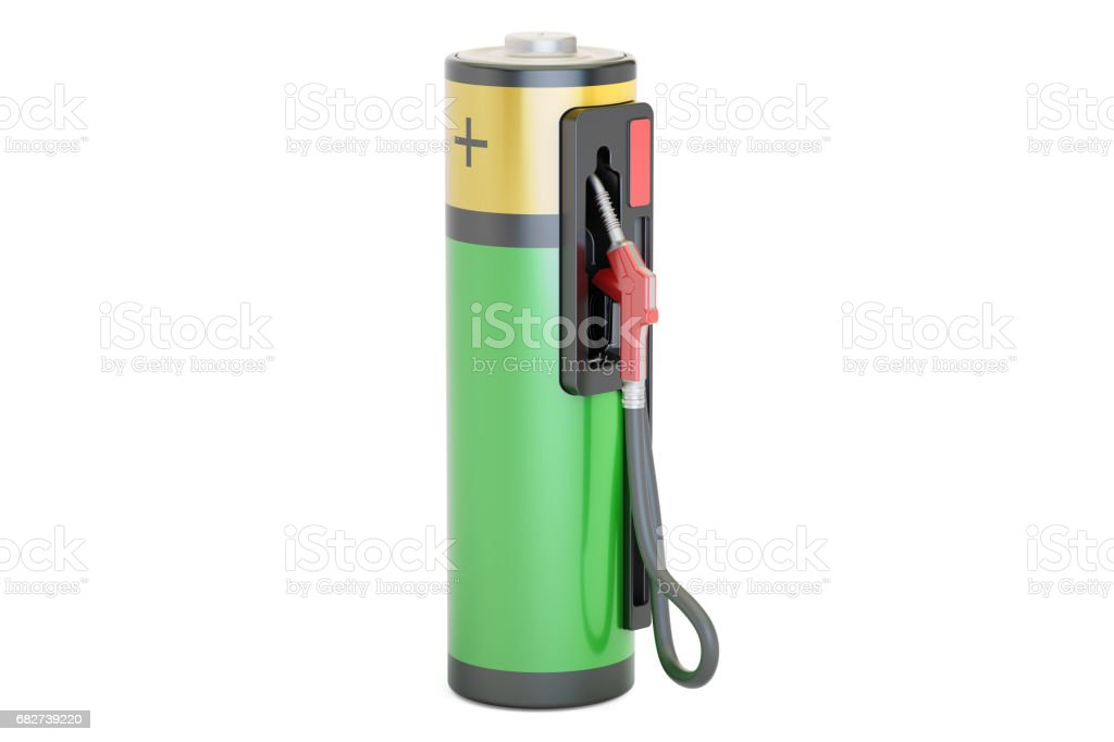 Electric car charging concept. Fuel pump nozzle with battery, 3D rendering isolated on white background stock photo