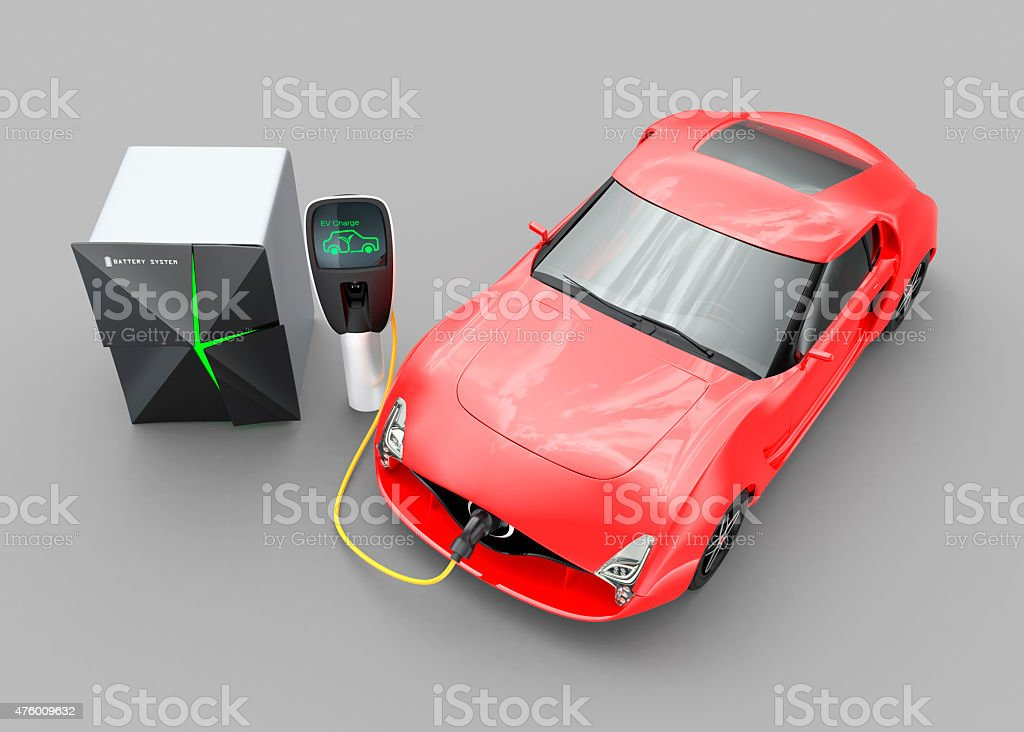 Electric car charging in EV charging station stock photo
