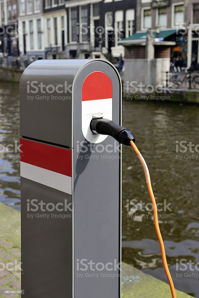 Electric car charging station royalty-free stock photo