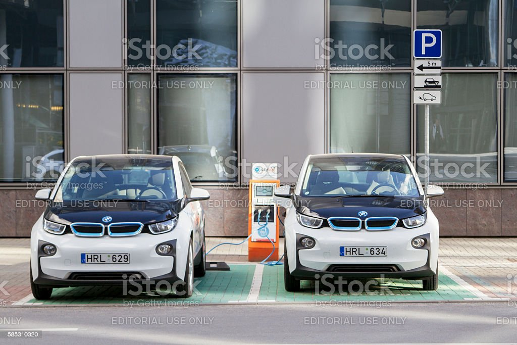 Vilnius, Lithuania - August 2, 2016: Electric car charging station stock photo