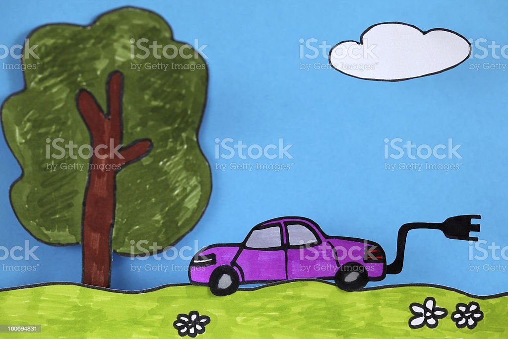 Electric car going for a drive outdoors stock photo