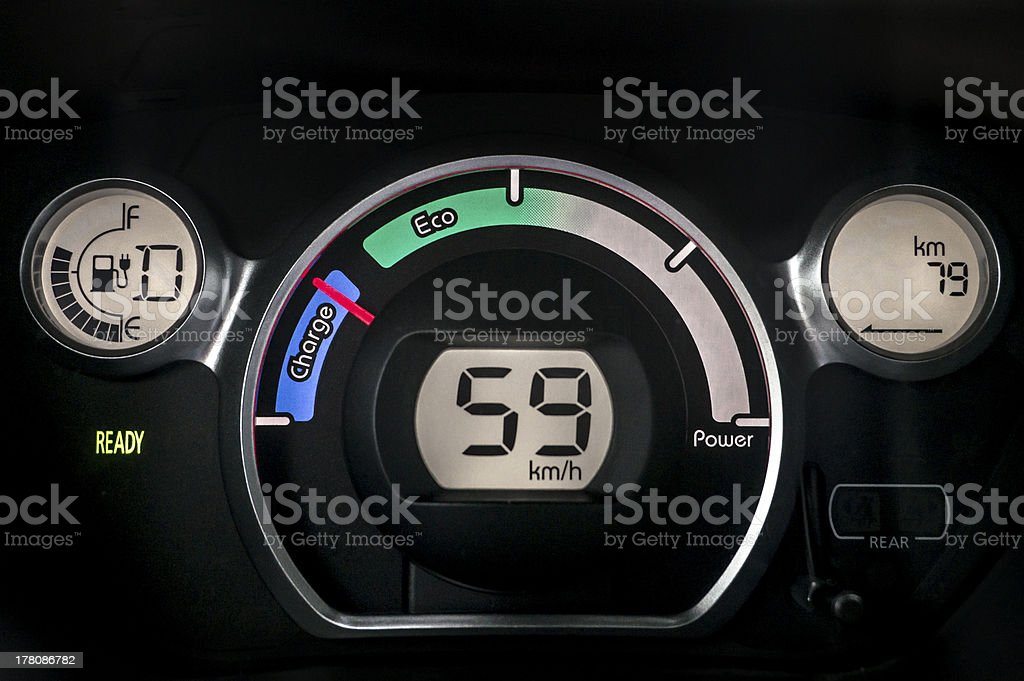 Electric car instrument cluster stock photo