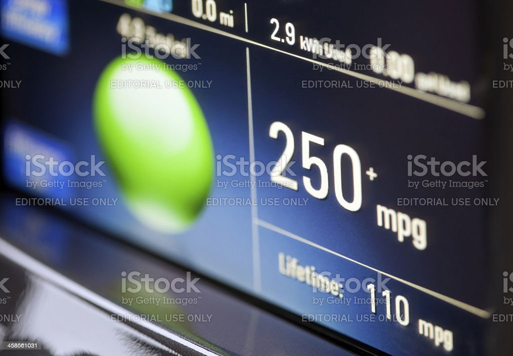 Electric Car Instrument Display Showing Miles Per Gallon stock photo