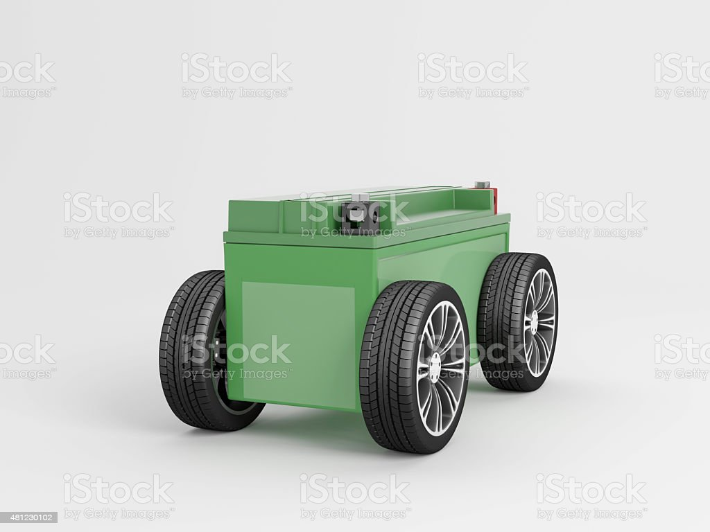 electric Car metaphor in Green frontview stock photo